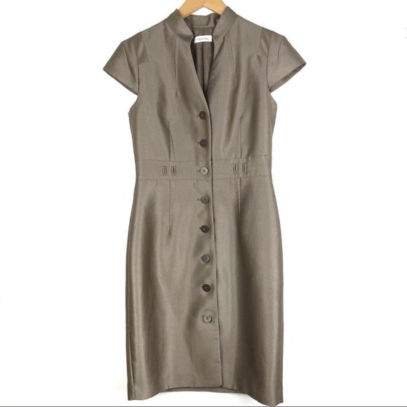 Calvin Klein Dresses & Skirts - Calvin Klein 6 Bronze Cap Sleeve Sheath Dress d516